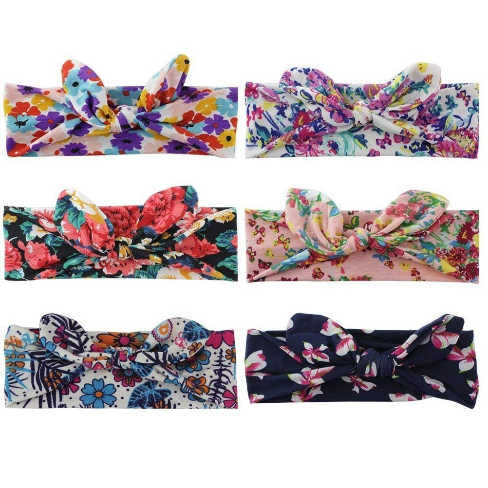 Women Headbands Turban Headwraps Hair Band Bows Accessories for Fashion Or Sport (Boho Floral 6pcs)