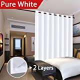 Extra Wide Blackout White Curtains for Patio