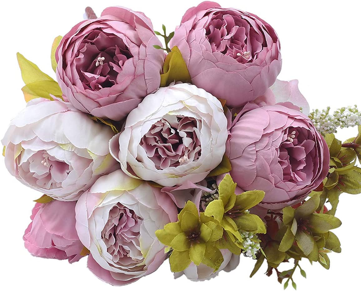 Kimura's Cabin Vintage Peony Artificial Flower Fake Silk Peony Flowers Bouquet,for Home Wedding Party Decor (Pink Purple)