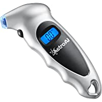 AstroAI Digital Tire Pressure Gauge 150 PSI 4 Settings Car Truck Bicycle Backlit LCD Non-Slip Grip, Silver (1 Pack)