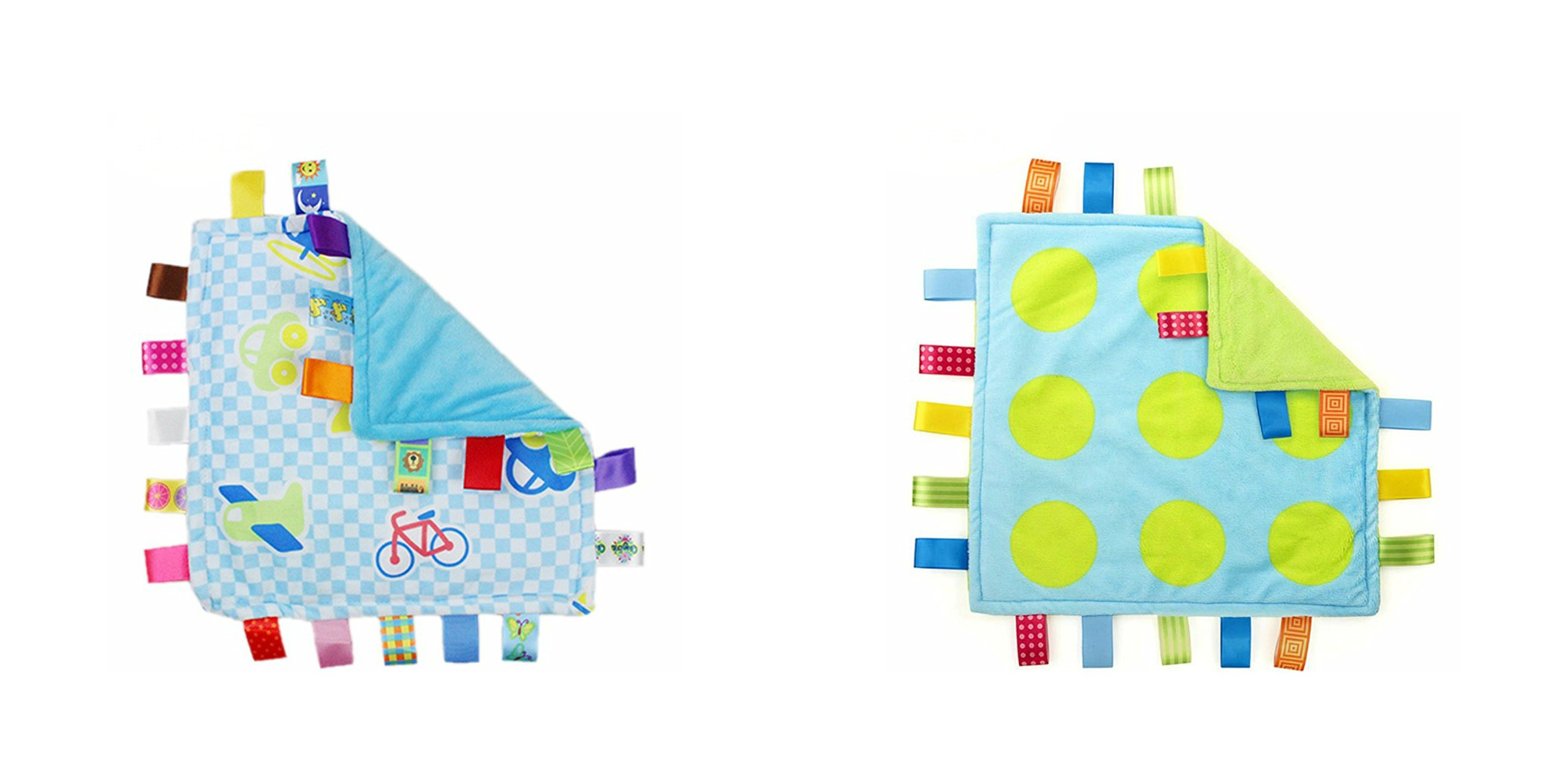 J&C Family Owned Blue Vehicle and Lime Green Circles Taggie Style Super Soft Lovey Baby Blanket 2 Pack