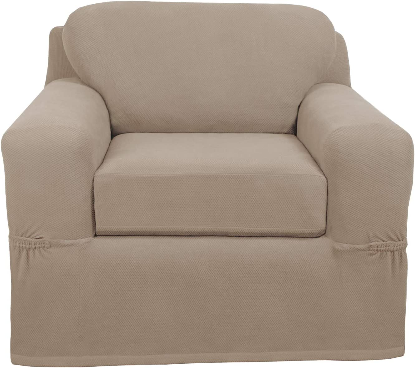 MAYTEX Pixel Ultra Soft Stretch 2 Piece Arm Furniture Cover, Sand Chair Slipcover