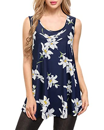 592fe7f0e35f3 KILIG Women's Sleeveless Swing Tunic for Leggings Summer Floral Flare Tank  Top at Amazon Women's Clothing store: