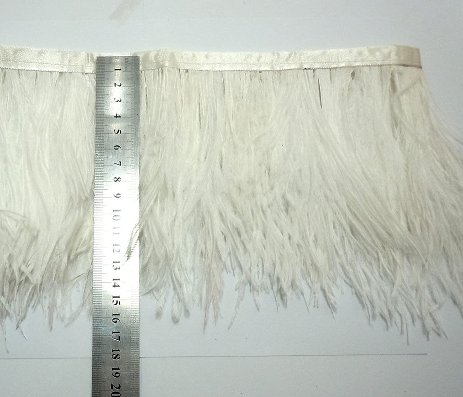 Ostrich Feathers Trims Fringe with Satin Ribbon Tape for Dress Sewing Crafts Costumes Decoration Pack of 2 Yards Pink