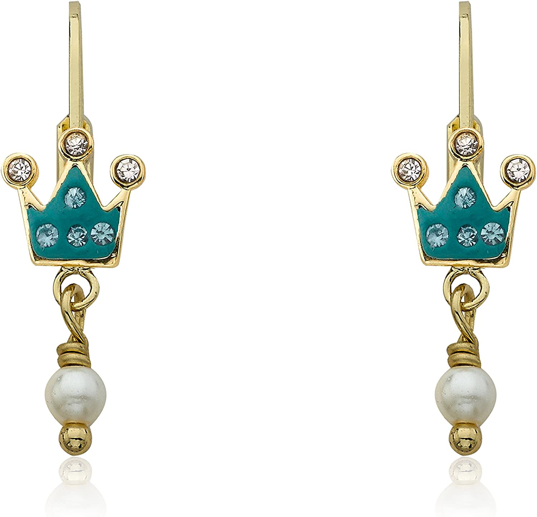 Molly Glitz 14k Gold-Plated Aqua Crystal Crown /& Fresh Water Pearl Dangle Leverback Earring