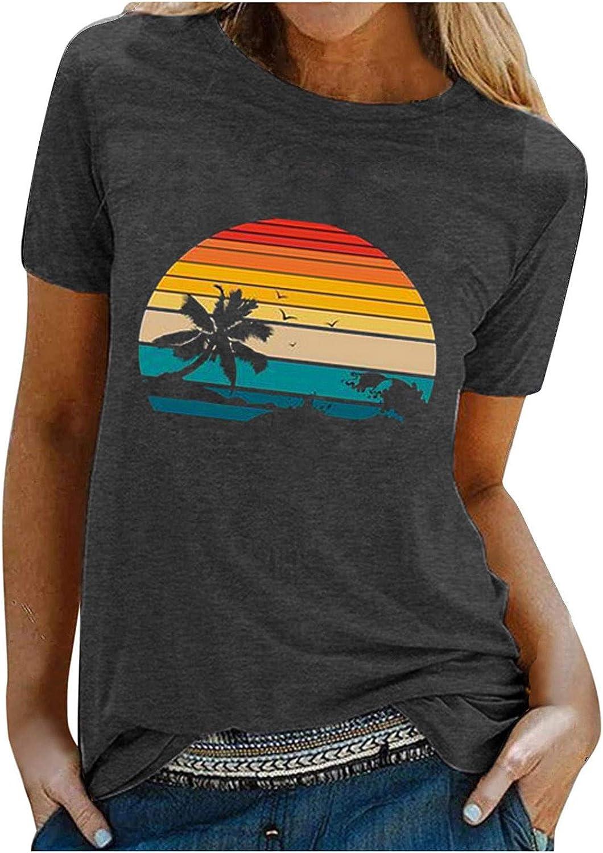 YANFANG Rainbow Beach Printed Women Summer Blusa de Manga Corta Top Camiseta Camiseta,Moda Pullover Tops Suelta Larga Camisa