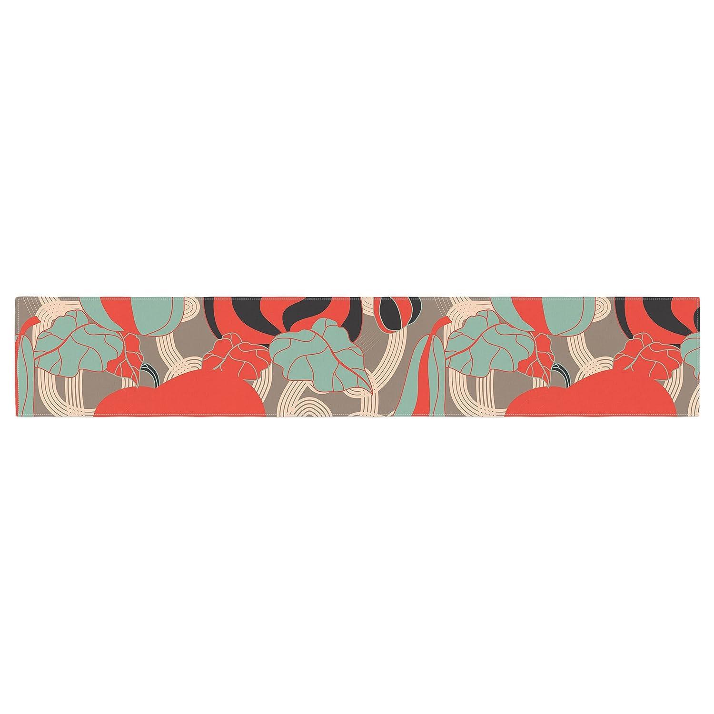16 x 180 KESS InHouse Akwaflorell Its Pumpkin Time Red Teal Table Runner