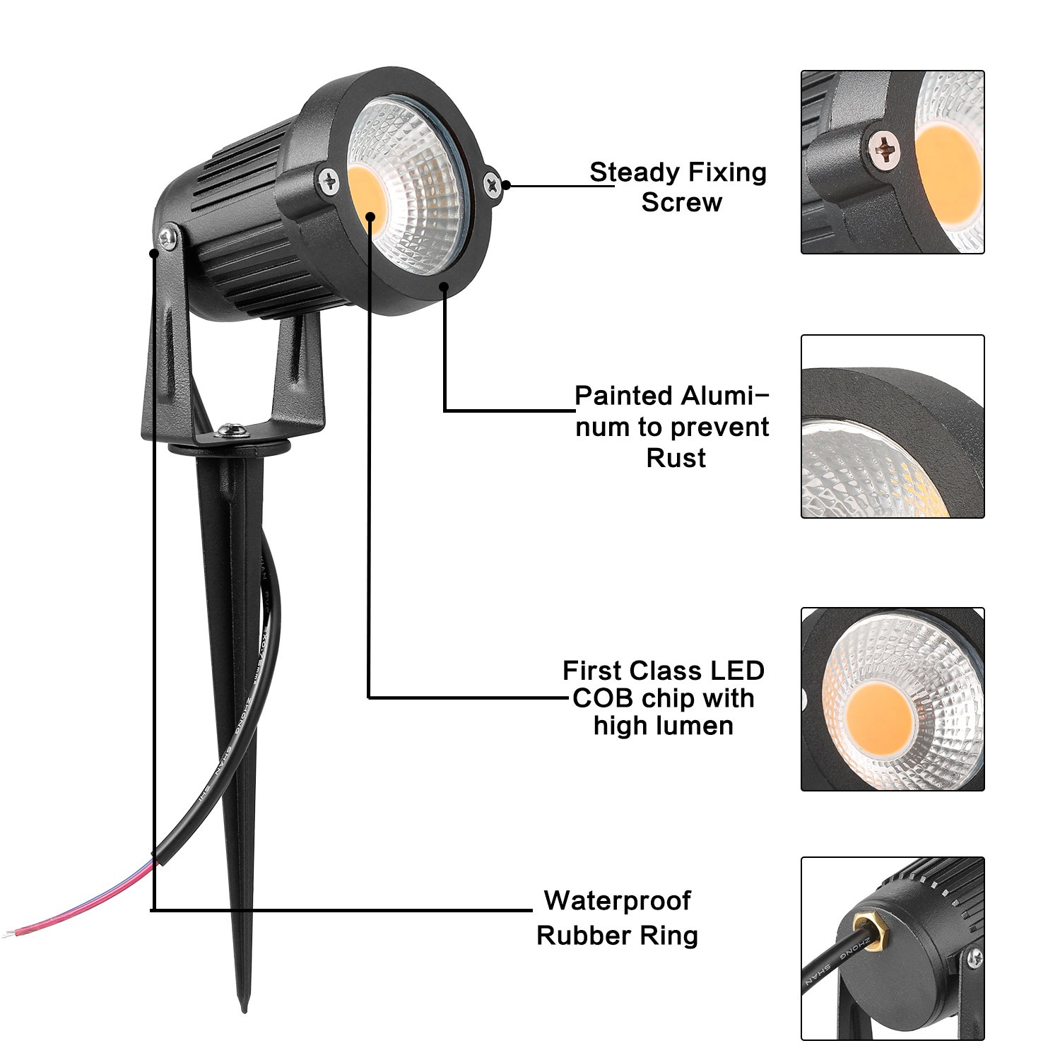 Zuckeo 5w Led Landscape Lights 12v 24v Garden Waterproof Warm Accessory Spotlight Wiring Diagram For Motorcycle White Walls Trees Flags Outdoor Spotlights With Spike Stand 8 Pack Patio