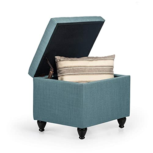 Joveco Storage Ottoman Fabric Rectangular Bench with Hinged Lid Light Teal