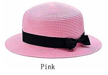 Ganuo Nice Sun Straw Hat boater hat Women s bow summer Hats For Women Beach  flat straw ecd004be5fce