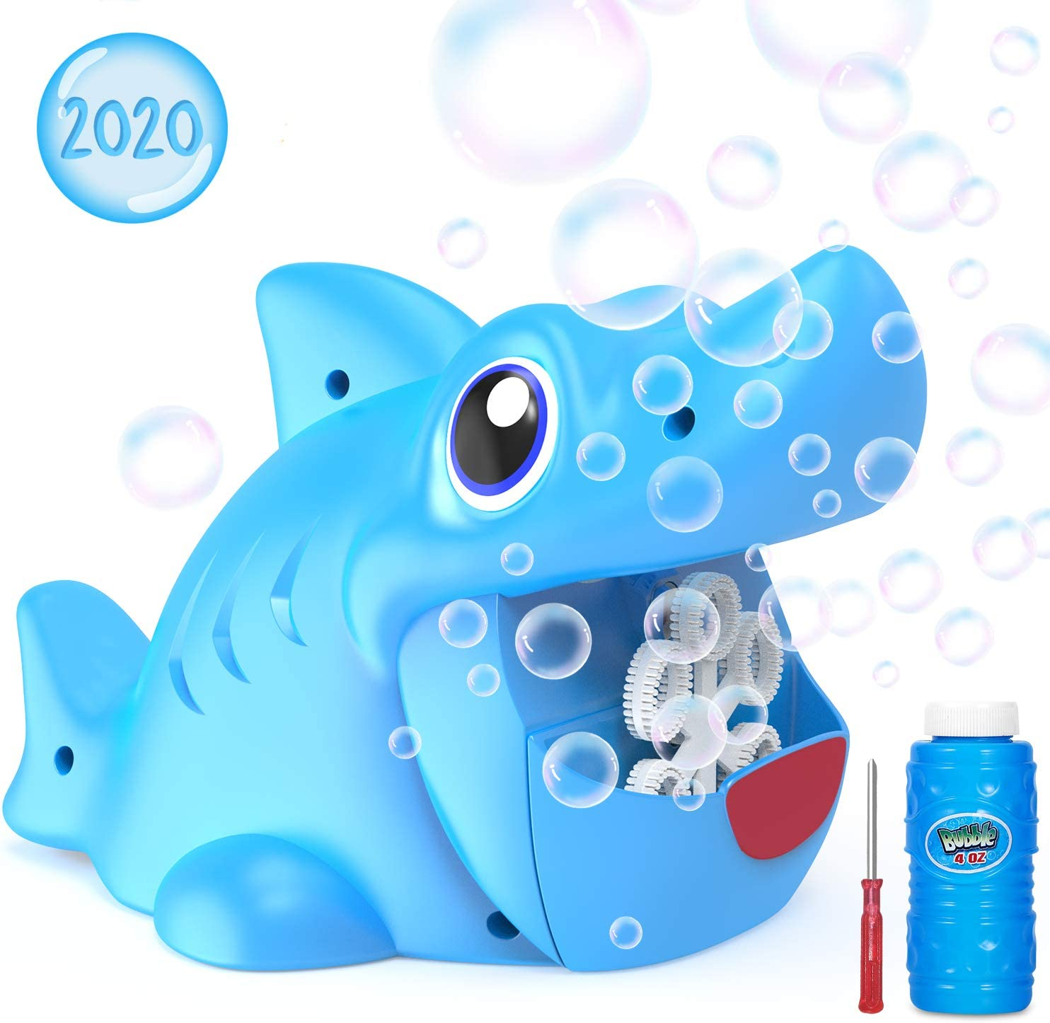 WisToyz Bubble Machine Shark Bubble Blower Bubble Maker, Shark Toys Baby Bath Toys, Bubble Machine for Kids Toddlers Boys Girls, Bubble Solution&Screwdriver Included, Two Batteries Needed