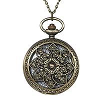 Antique Bronze Retro Hollow Rose Flowers Openwork Quartz Pocket Watch for Women Girls