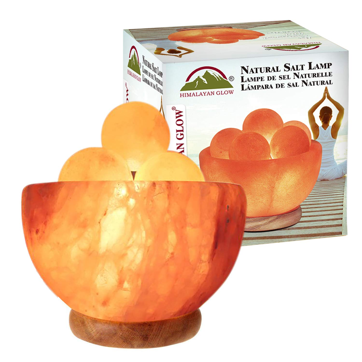 Himalayan Glow Bowl Massage Ball Salt lamp with Wooden Base and Dimmer Switch by WBM, 10 lbs, Pink 1328