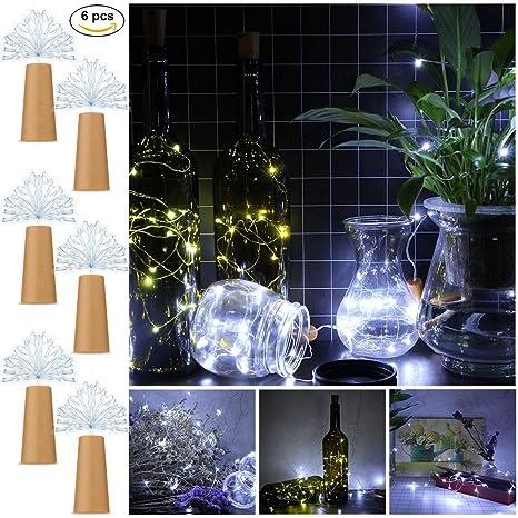 Letilio Botellas vino Luces de cadena, 6 pcs LED Luces de cadena plata para botella Decoración de bricolaje, Bbq al aire libre, Reunión, Fiesta, Boda, ...