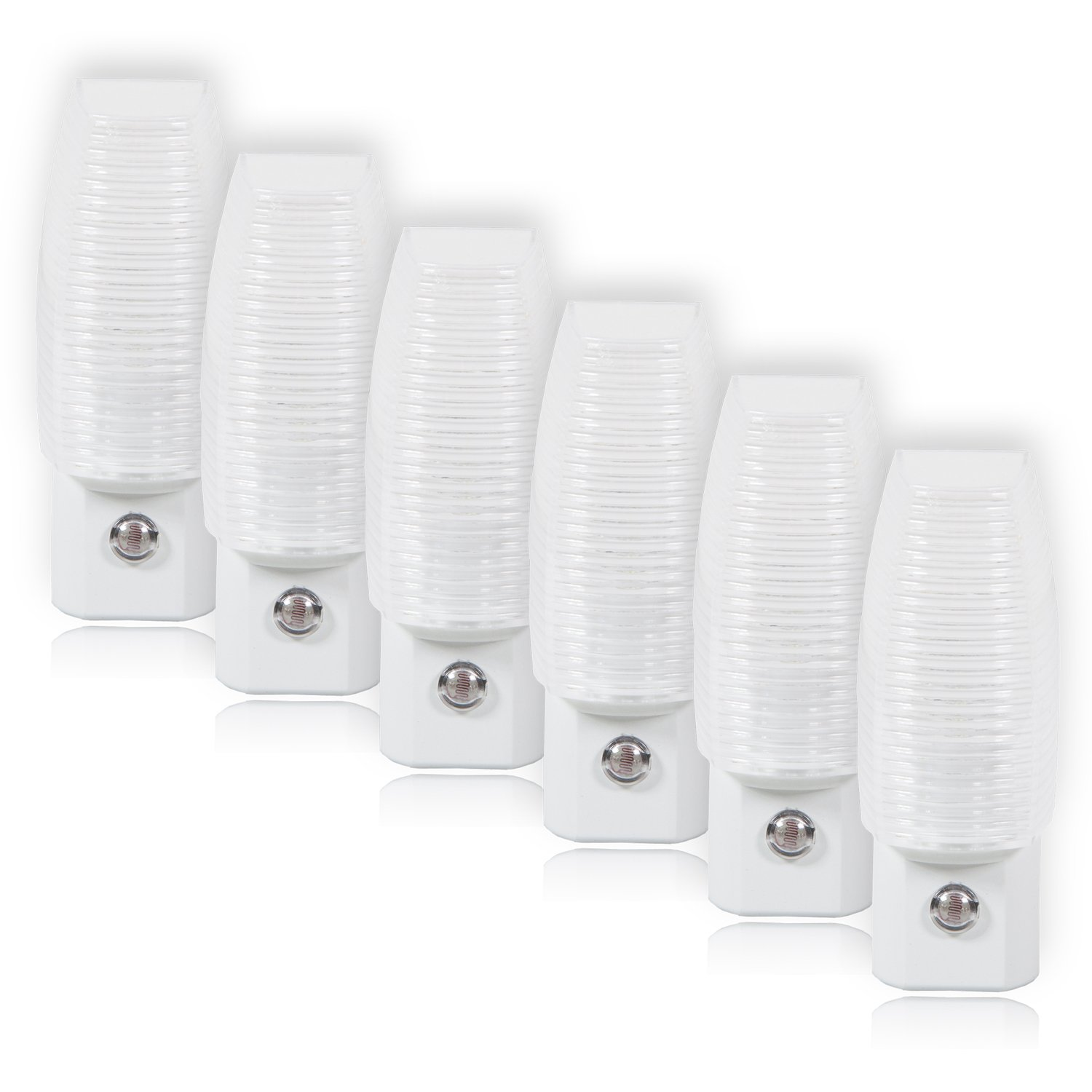 Maxxima MLN-16 LED Plug In Night Light With Auto Dusk to Dawn Sensor, 5 Lumens (6 Pack)