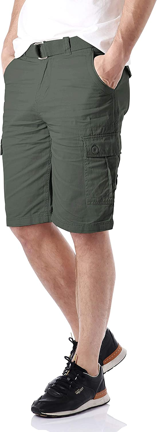 Hat and Beyond Mens Twill Cargo Shorts Belt Hiking Camping Outdoor Summer