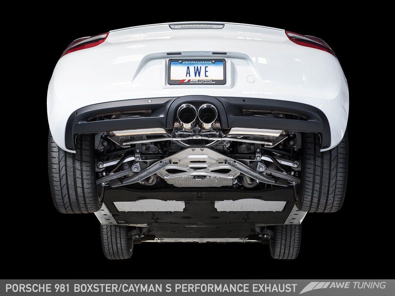 With Chrome Silver Tips AWE Tuning 3010-32020 Porsche 981 Performance Exhaust System