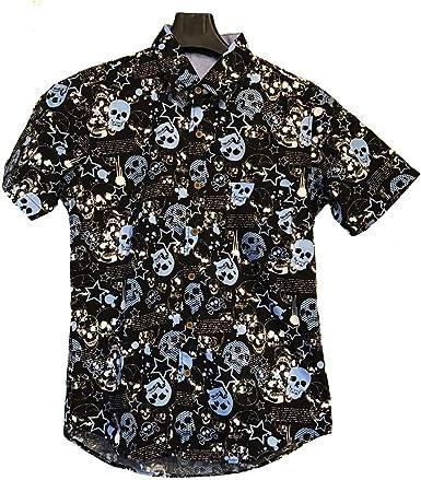 Camisa Hawaiana - Manga Corta - Estampado Calavera - Rock ...