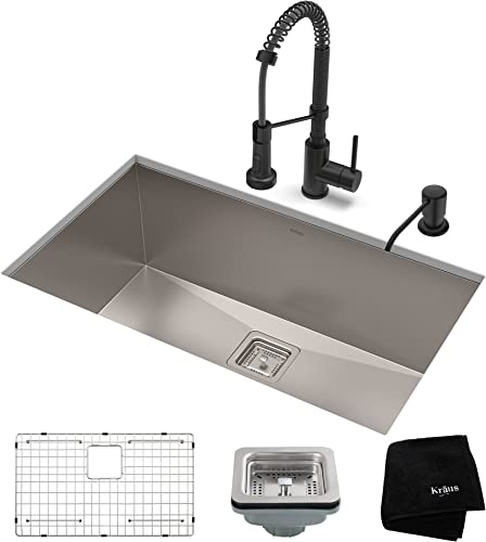 Kraus KHU32-1610-53MB Set with Pax Stainless Steel Sink and Bolden Commercial Pull Faucet in Matte Black Kitchen Sink Faucet Combo