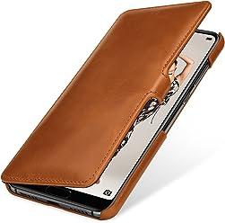 StilGut Book Type Case, Custodia per Huawei P20 PRO a Libro Booklet in Vera Pelle con Funzione on/off, Cognac con Clip