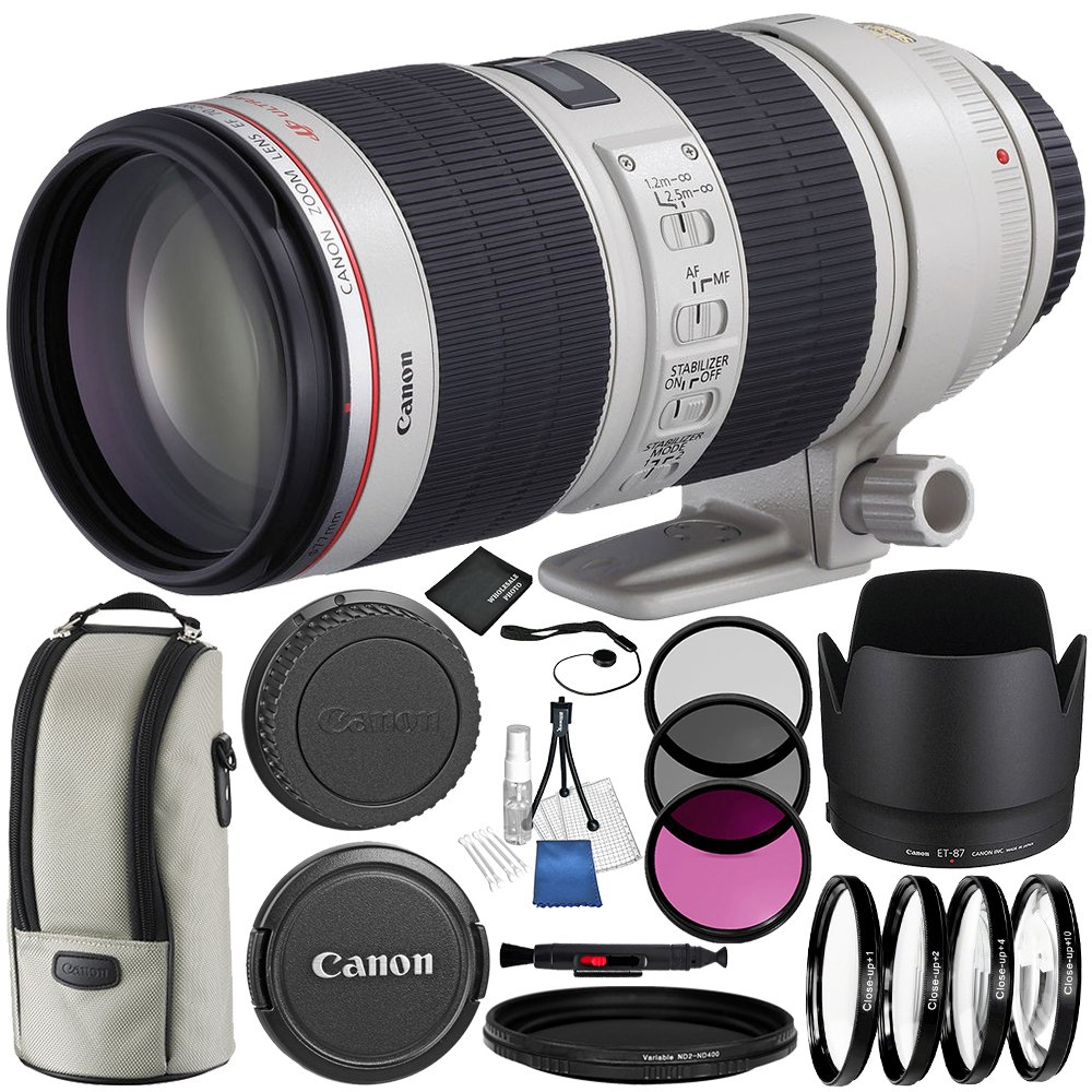 Canon EF 70-200mm f/2.8L IS II USM Lens 8PC Bundle – Includes 3 Piece Filter Kit (UV + CPL + FLD) + 4PC Macro Filter Set (+1,+2,+4,+10) + MORE
