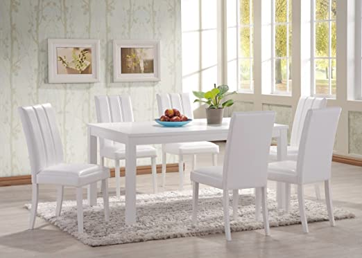 Hgg 7 Piece Dining Table And Chairs White Dining Table And Chairs Large Dining Table White Dining Sets Dining Set For 6 Rubberwood Furniture Amazon Co Uk Kitchen Home