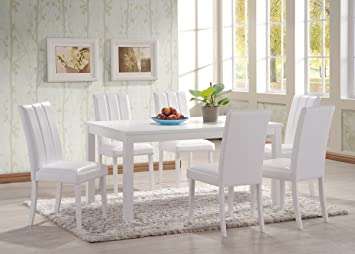 HGG 7 Piece Dining Table And Chairs   White Dining Table And Chairs   Large  Dining