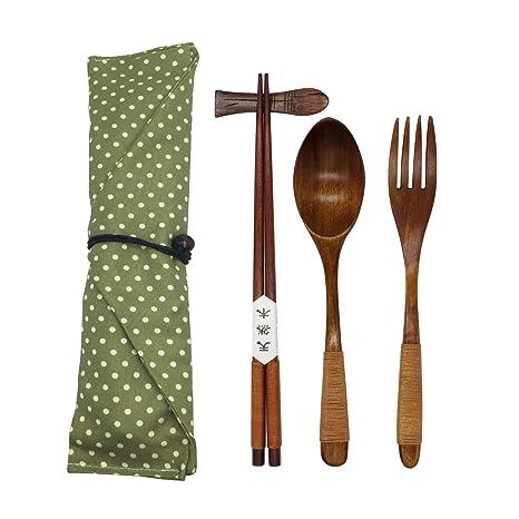 Juego de cubertería de madera natural japonesa de 5 piezas (1 cuchara, 1 juego