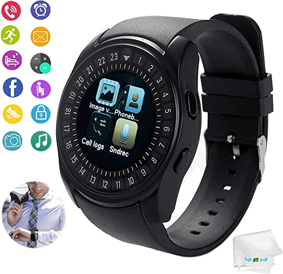 Smart Watch Bluetooth Smartwatch Touch Screen Unlocked Wrist Watch with Sim TF Card Slot Fitness Tracker Pedometer Sync Call SMS Remind Compatible ...