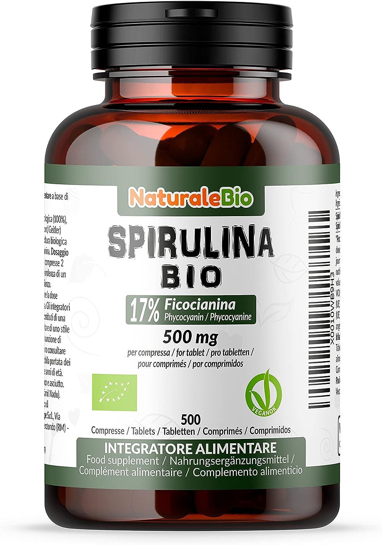 Alga Espirulina Ecológica en Comprimidos de 500mg (500 Tabletas). 100% Orgánica, Natural y Pura, Ficocianina 17%. Cultivada en India en Tamil Nadu. ...