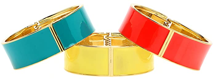 Vintage Style Jewelry, Retro Jewelry Lova Jewelry Bright Red Steel Blue Turquoise Yellow Sleek Hinge Metal Bangle Bracelet (Set of 3) $16.99 AT vintagedancer.com