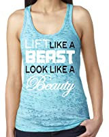 SoRock Women's Lift Like a Beast Look Like a Beauty Burnout Tank Top Teal