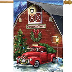 "Briarwood Lane Christmas Tree Farm House Flag Red Pickup Barn 28"" x 40"""