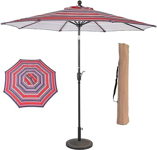 suna outdoor 9 Patio Umbrella Outdoor Table Umbrella with 8 Sturdy Ribs Tilt Adjustment and Crank Lift, Red Blue Stripe Cloth