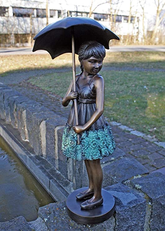 H. Packmor GmbH - Escultura de bronce para niña con paraguas, decoración para el jardín, 15 x 45 x 17 cm: Amazon.es: Hogar