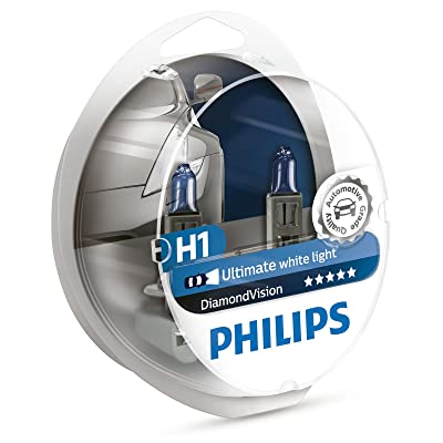 Philips Diamond Vision H1 5000K Ultimate White Light 12V 55W (Pack of 2) 12258DVS2: Automotive
