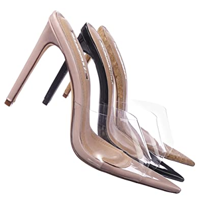 86b408b3e2 Amazon.com | Aquapillar Clear Transparent High Heel Mule Pointed Open Toe,  Women Lucite Plastic Nude Beige | Shoes