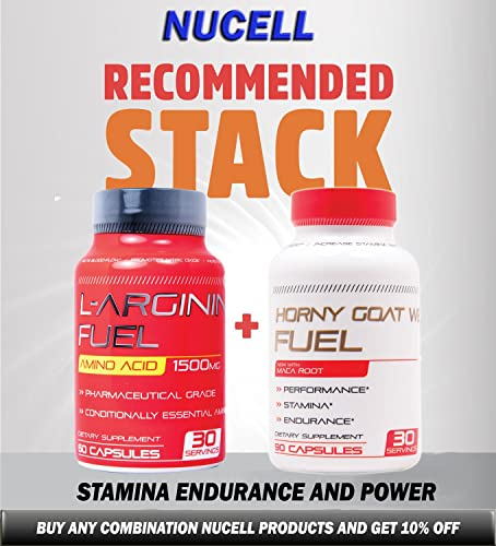 L-arginine Fuel Extra Strength L Arginine - 1500mg Nitric Oxide Supplement for Muscle Growth, Vascularity and Energy - L-Arginine Essential Amino Acid to Support Physical Endurance Wellness 60 Caps