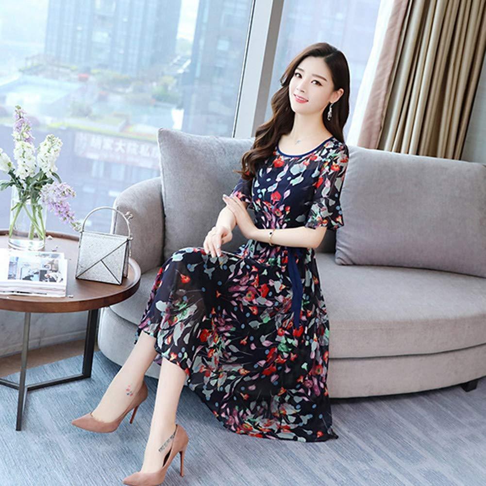Women Midi Dress Swing Flared Short Sleeve /& Round Neckline Dresses Lady Bowknot Belt Skirt Printed Floral
