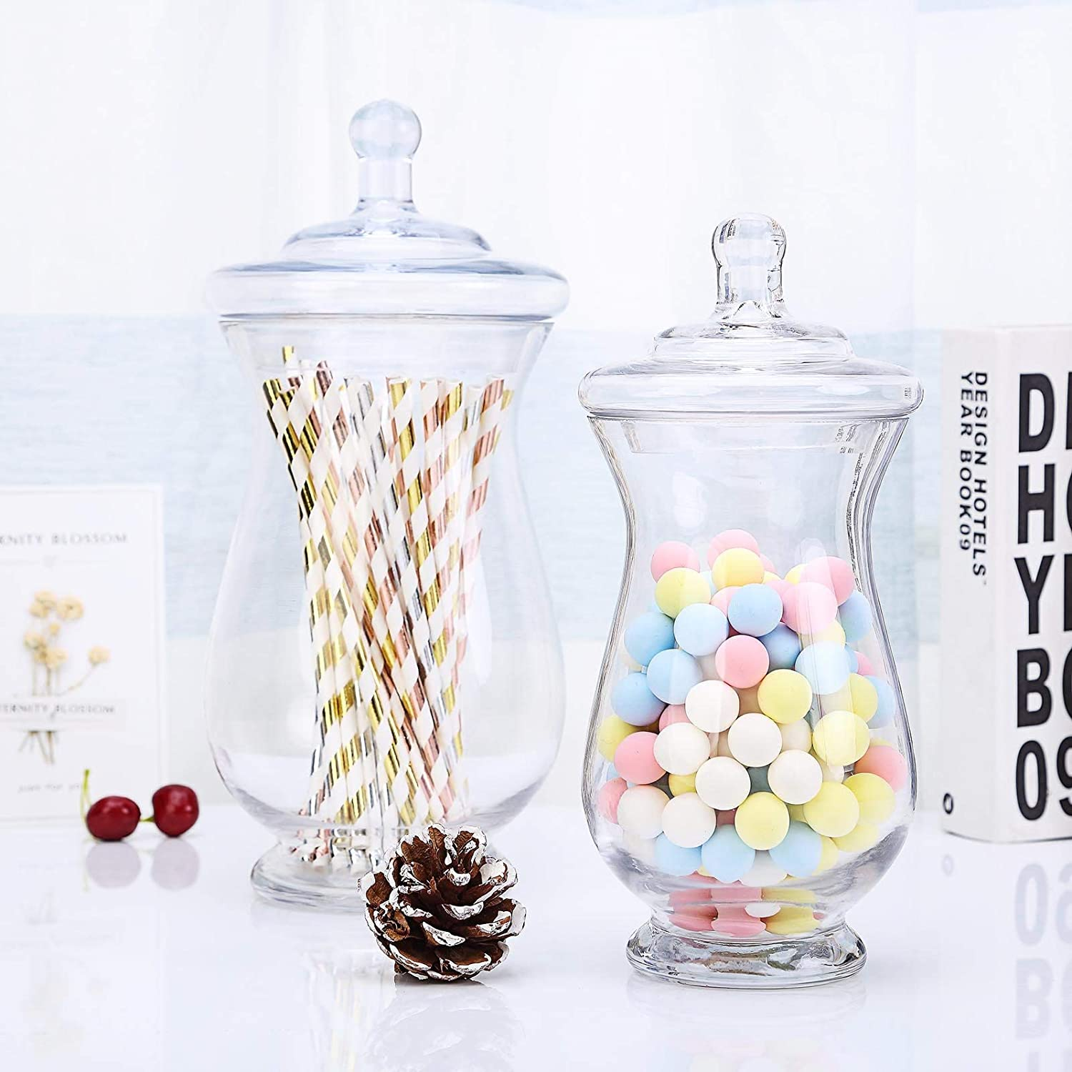 Efavormart 2 Pack | Clear Glass Apothecary Jars Candy Buffet Containers with Lids for Wedding Party Favor Decor - 10