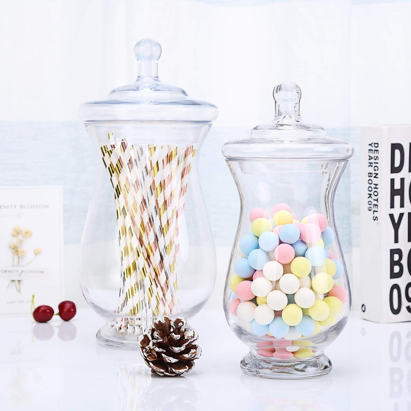 Efavormart 2 Pack | Clear Glass Apothecary Jars Candy Buffet Containers with Lids for Wedding Party Favor Decor - 10''/12'' by Efavormart.com