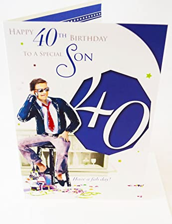 Happy 40th birthday son card elegant mens lovely verse male mens happy 40th birthday son card elegant mens lovely verse male mens age 40 son card bookmarktalkfo Image collections