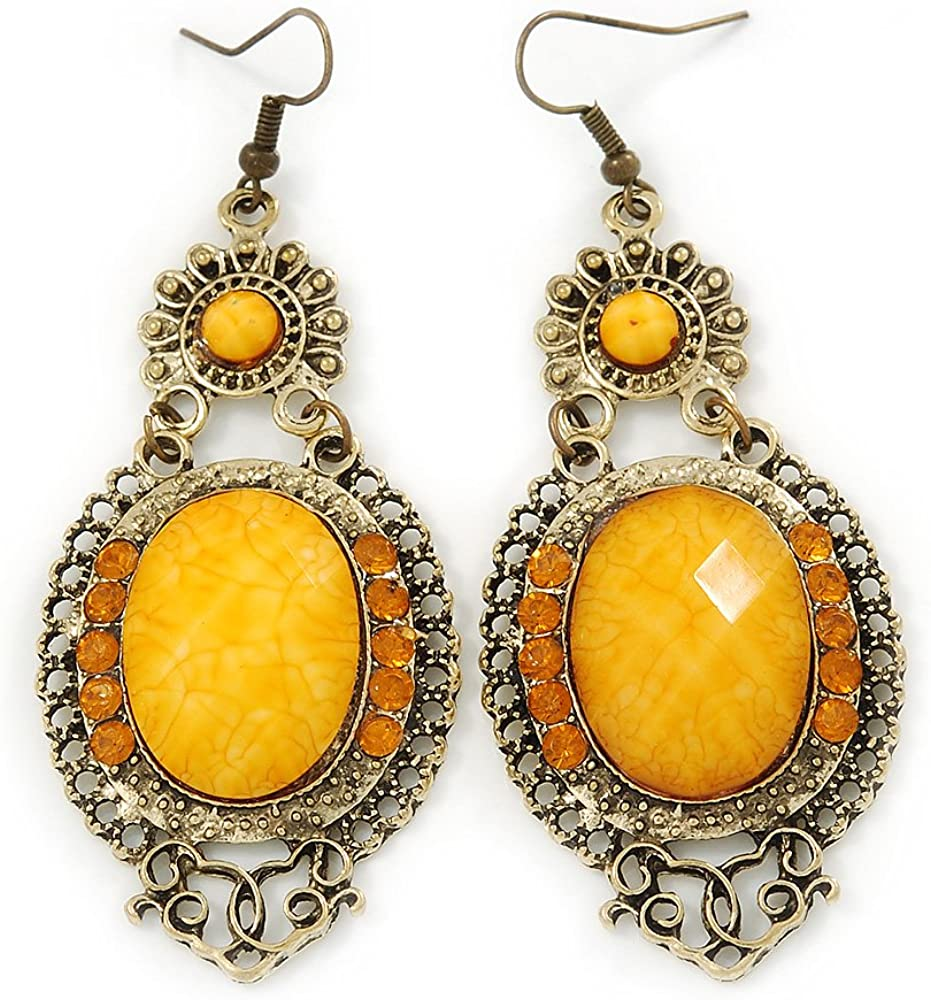 Estilo victoriano amarillo acrílico Bead, Crystal Chandelier Pendientes en tono de oro antiguo–80mm L