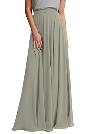 58b812d63ddf Honey Qiao Chiffon Bridesmaid Dresses High Waist Long Woman Maxi Skirt  Asparagus Green