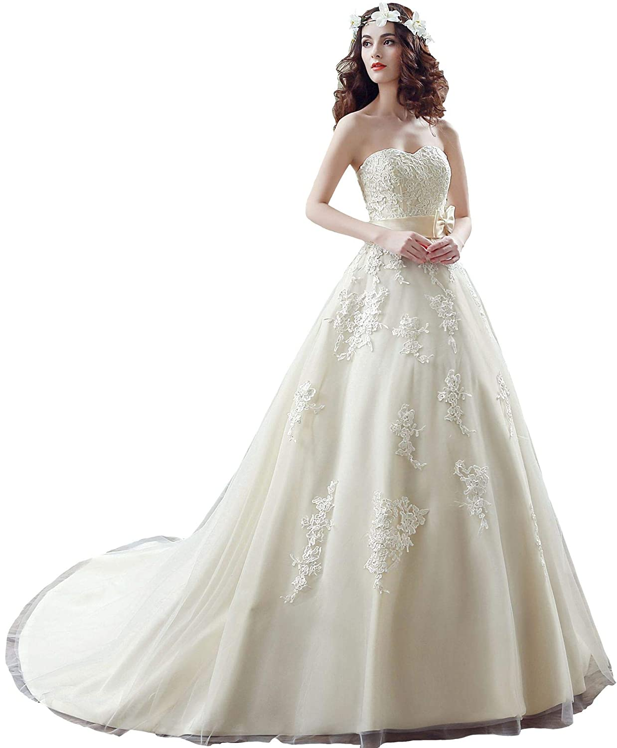 Besswedding Lace Wedding Dresses 2019 Long Ball Gown Prom Dress With