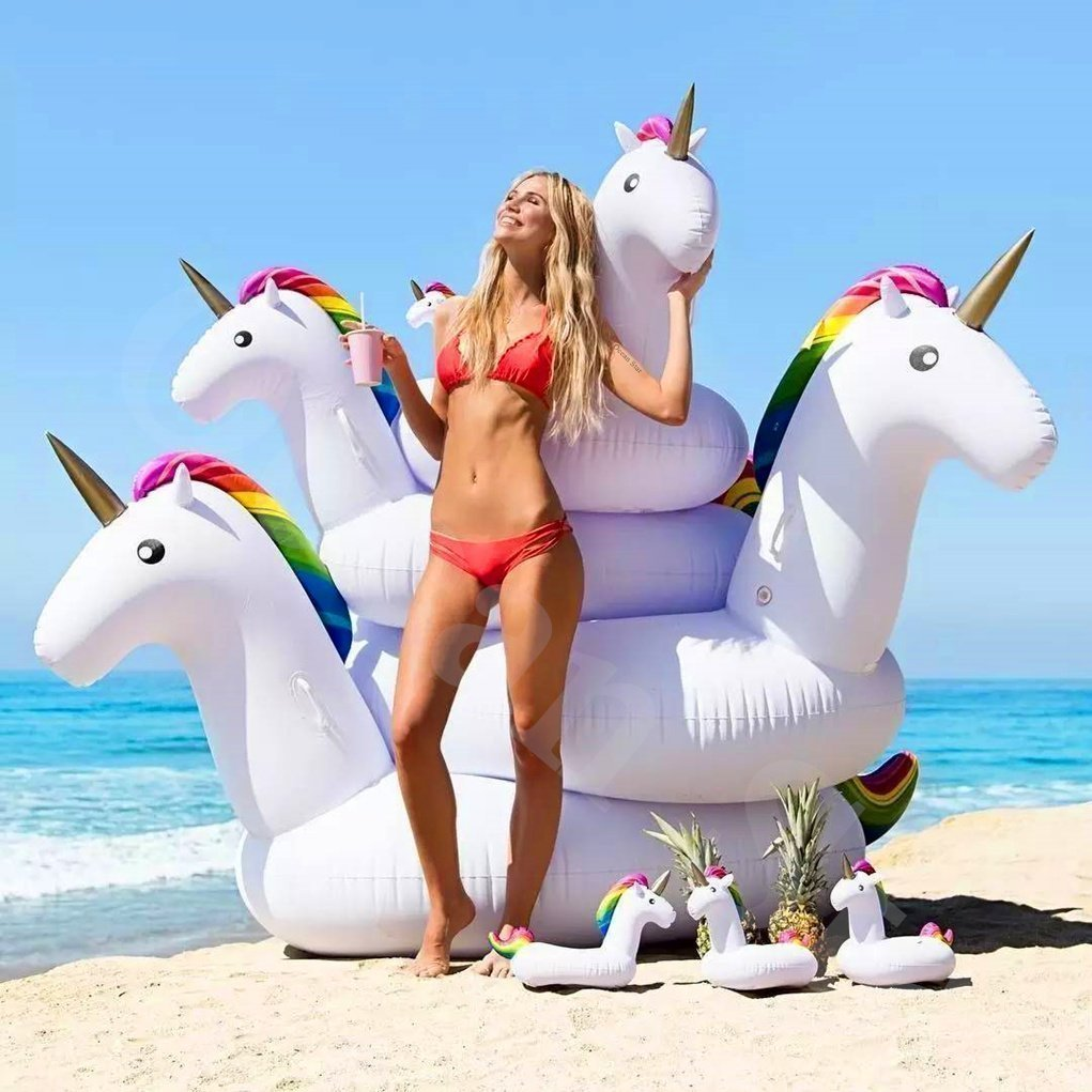 Inflatable Unicorn Giant Floating Bed Pool PVC Ocean Star General Adult Children Swimming Ring Water Recreation Leisure Chair Sports Outdoor Toy Raft Lounger 275 * 120 * 140cm