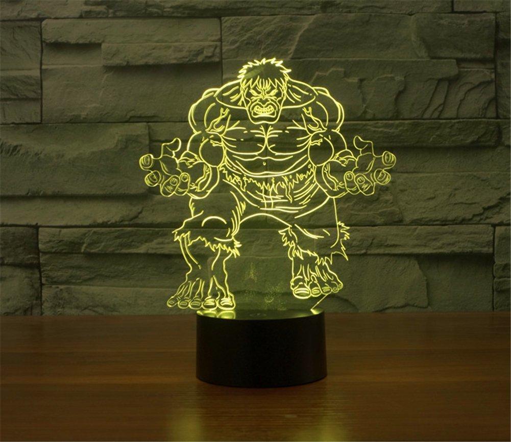 SmartEra/® 3D Optical Illusion 2016 nuovo Hulk Pannello di modello di illuminazione notturna 7 cambiamento di colore del pulsante tattile USB scrittorio LED lampada da tavolo luce