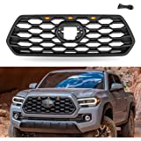 VZ4X4 Front Grill Compatible with Toyota Tacoma 2016 2017 2018 2019, ABS Grille, Matte Black