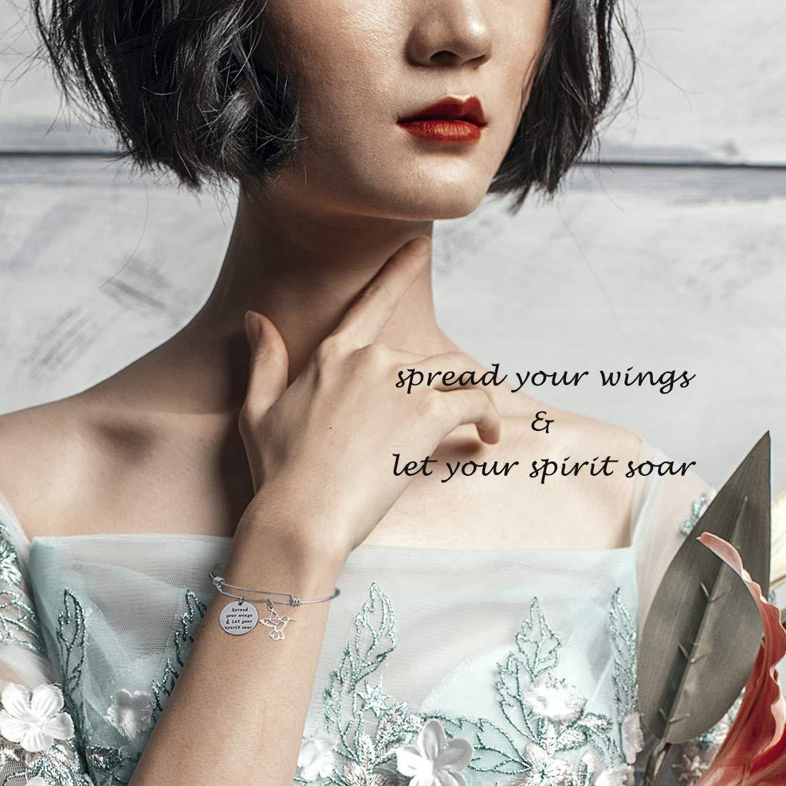 HOLLP Humming Bird Charm Bracelet Humming Bird Lover Gift Spread Your Wings /& Let Your Spirit Soar Bracelet