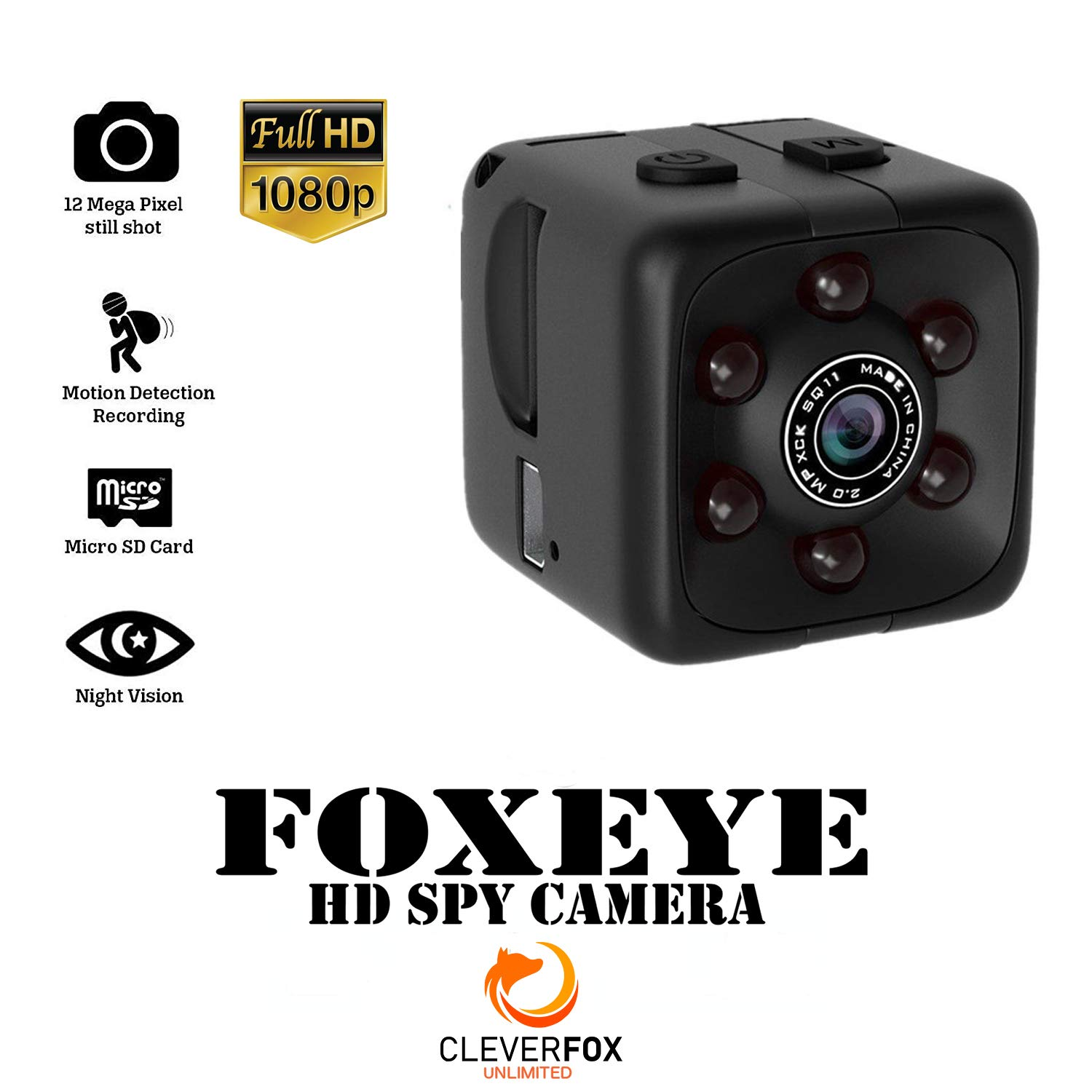 Mini Spy Camera with Audio, 1080p Mini Hidden Spy Cam, Security Cube Camera Recorder, HD, Night Vision and Motion Detection for Home Surveillance, Nanny Cam, Cars, Office, Drones, Outdoor, Body Cams by CleverFox Unlimited